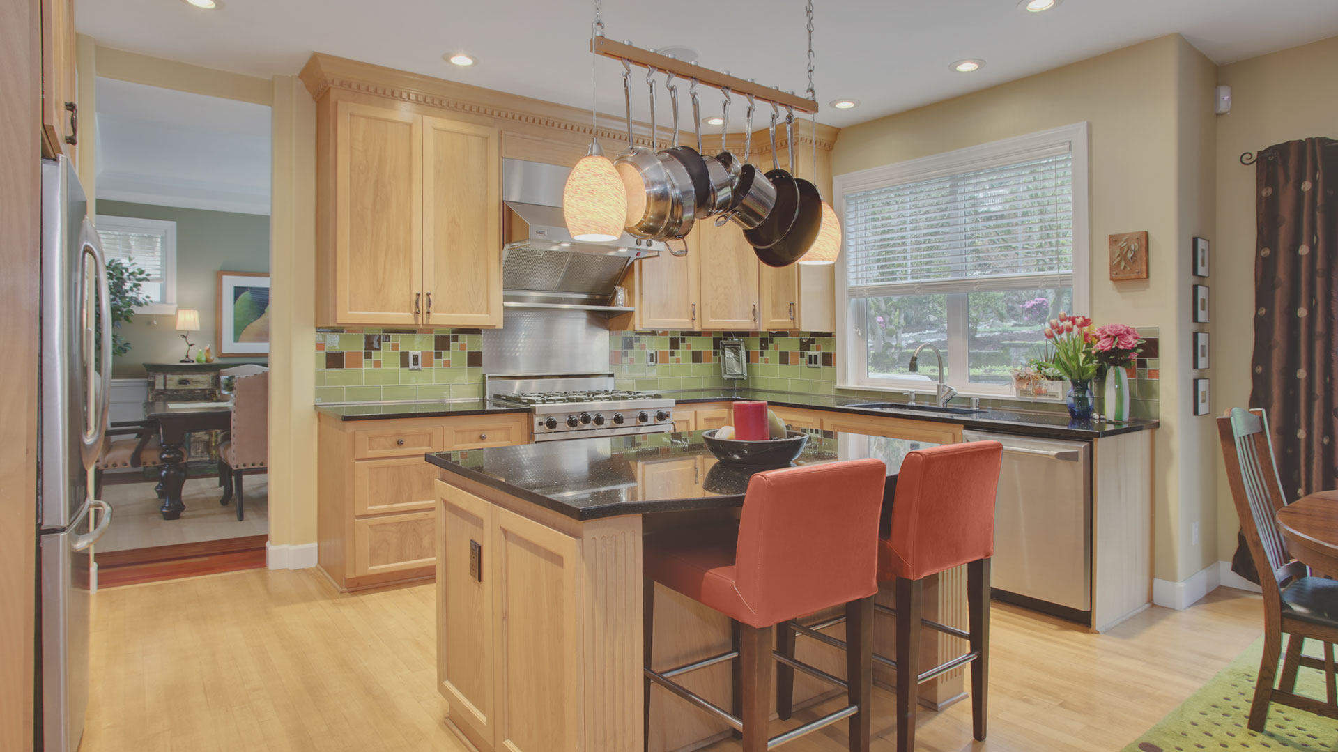 Existing kitchen cleverly reconstructed.
